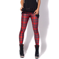 Legging Importada - Estampa Black Milk - Tartan Red - Xadrez