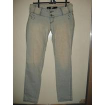 Calça Jeans Da Pool C/ Strass E Tachas Tam 42