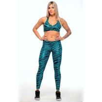 Calça Legging Academia E Top Canoan Efeito Couro Fitness