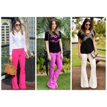 Calça Jeans Feminina Flare Colorida Luxo - Levanta Bumbum