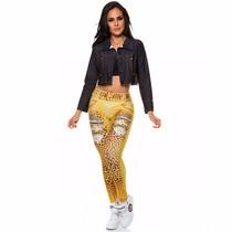 Calça Legging Estampa Jeans Onça Dourado Dunas Original