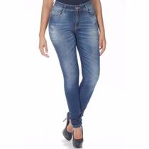Calça Jeans Feminina Sawary Cintura Alta Levanta Bumbum