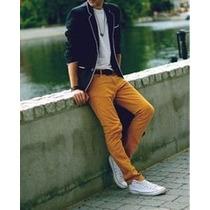 Calça Jeans Sarja Skinny Slim Masculina Mostarda