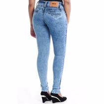Calça Jeans Feminina Sawary Cos Largo Skynny Levanta Bumbum