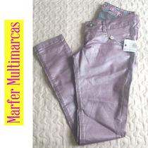 Calça Jeans Rosa Metalizada Brilhosa Linda Skinny Botão Stra