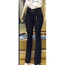 Calça Flare Jeans Hotpant. Cintura Alta. Estilo Boca De Sino