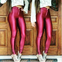 Calça Legging Cintura Alta Brilho Couro Lycra Disco Pants