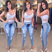 Calça Jeans Moletom Feminina Comprou Leva 2.