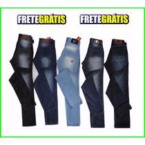 Kit Atacado 05 Calças Jeans Masculina Skinny, Vários Modelos