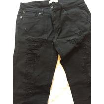 Calça Jeans Rasgada Com Elastano