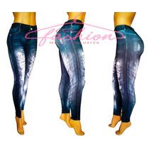 Calça Legging Estampa Jeans Destroyed, Rasgada, Calça Vácuo