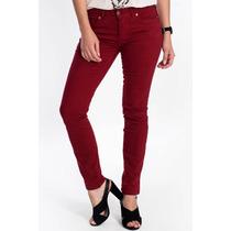 Calça Jeans Feminina Colorida Marca Canal Skinny Vermelha