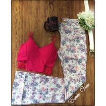 Calça Flare Floral - Colorida