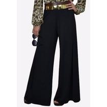 Calça Feminina Pantalona Em Viscolycra Cintura Alta.