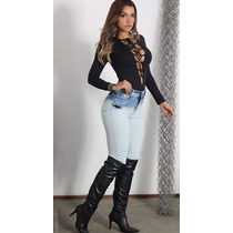 Calça Jeans Feminina Pant+lycra Cós Alto Manchada Colada Top