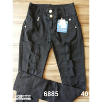 Calça Jeans Kamdesh Skinny Rasgada Com Elastano Feminina - 6