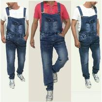 Jardineira Jeans Masculino Vintage Reforçado Estilo Europeu