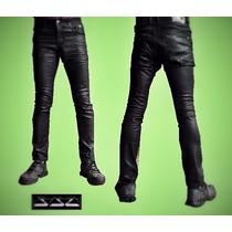 Calça Jeans Resinada Skinny Premiun Denim Preta Gangster