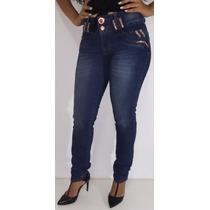Calça Jeans Feminina Modeladora Strass