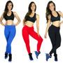 Kit 5 Calças Legging Suplex Grosso Lisa Ginástica Fitness