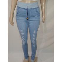 Calça Jeans Com Detalhes Em Moletom, Destroyed Com Elastano,