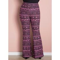 Calça Plus Size Feminina - Cintura Alta Em Malha
