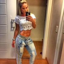 Calça Jeans Destroyd Com Detalhes Moleton