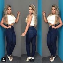 Calça Jeans Cós Alto Com Elastano Modelo Levanta Bumbum