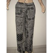 Calça Pantalona Estampa Étnica - Tam - Gg