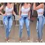 Calça Jeans Com Detalhes Em Moletom - Tamanho 40