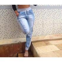 Calça Jeans Com Moletom, Cintura Alta, Super Promoção,