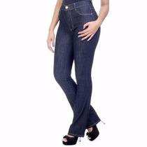 Calça Flare Cos Alto Cintura Alta Jeans Feminina Azul Disco