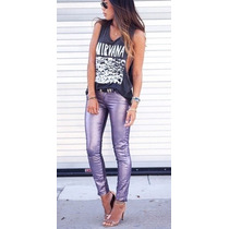 Linda Calça Jeans Maravilhoso Rosa Metalizada Skinny Justa