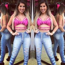Calça Jeans Hot Pants Destroyd Rasgada Detonada Cintura Alta