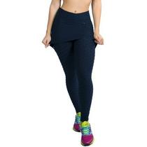 Calça Legging Com Saia Suplex Fitness Academia Tecido Bolha