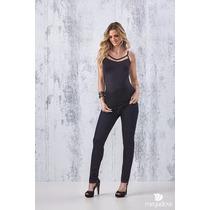 Calça Feminina Leeeging Cotton Jeans Cintura Alta Com Lycra