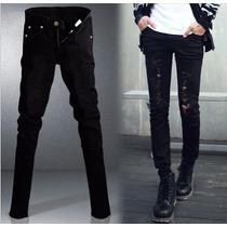 Calça Masculina Jeans Sarja Skinny Preta Rasgada Mod7