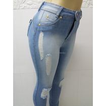 Calça Jeans Feminina Cintura Alta Destroyed Levanta Bumbum