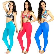 Kit 5 Calça Legging Pezinho Suplex Feminino Fitness Academia