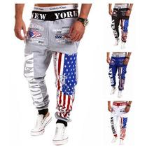 Calça Moleton Saruel Skinny Modelo Novo Bandeira Estados Un