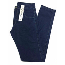 Calça Masculina Jeans Azul Basica Elastano 38 Ao 48