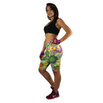 Bermuda Estampada Suplex Cintura Alta Fitness Feminina