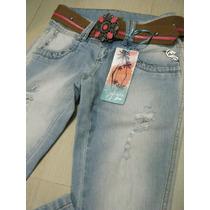 Calça Jeans Feminina Emporio Jeans, Com Cinto.