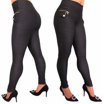 Calça Legging Feminina Em Cotton Jeans Com Elastano E Ziper