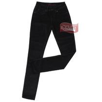 Calça Jeans Aveludado Feminina New Fit Skinny Preto Com Elas