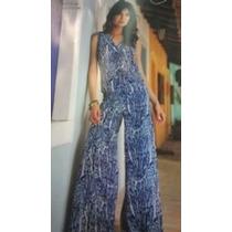 Calça Pantalona De Grife Em Seda Onça Azul Forrada