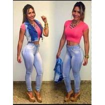 Calça Jeans Feminina Cintura Alta Hot Pants Com Lycra
