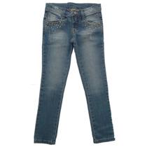 Calça Infantil Jeans Strass Dourado Bittix