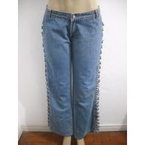 Calça Jeans Tam 44 Tipo Customizada, Trançado Na Lateral