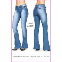 Calça Flare Azul Claro Jeans Estilo Hot Pants Boca Sino 809